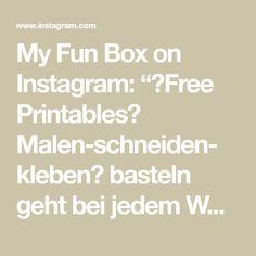 """My Fun Box on Instagram: """"🖨Free Printables🖨 Malen-schneiden- kleben🖍 basteln geht bei jedem Wetter🌈🥰👍🏻 link in Bio👀"""" Free Printables, Instagram, Box, Link, Basteln, Weather, Snare Drum, Free Printable"""