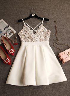 Cute white short prom dress, homecoming dress, cocktail dress