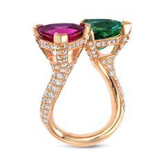 A Breathtaking Mint Green Tourmaline And Pink Tourmaline Twin Ring   1stdibs