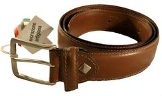 Smooth brown leather belt for men, Florentine leather