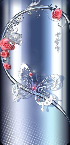 By Artist Unknown. Et Wallpaper, Bling Wallpaper, Phone Screen Wallpaper, Luxury Wallpaper, Butterfly Wallpaper, Locked Wallpaper, Butterfly Art, Cellphone Wallpaper, Mobile Wallpaper