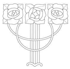 Redrawn design. Ceramic tile, art nouveau.