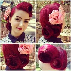 Beautiful burgundy pin up hair