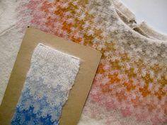 Swedish Bohus sweater yoke with sample of motif in blues, courtesy Kerstin Olsson. Knitting Designs, Knitting Stitches, Knitting Yarn, Knitting Projects, Hand Knitting, Intarsia Patterns, Stitch Patterns, Knitting Patterns, Sweater Patterns