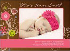 Fresh Blooms Birth Announcement