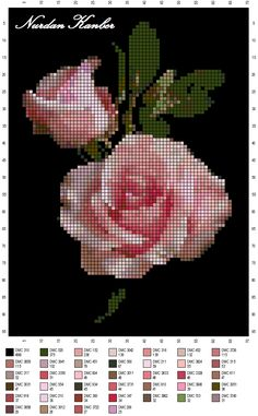 Cross-stitch Roses - in front of the dark background! Cross Stitch Needles, Cross Stitch Rose, Cross Stitch Flowers, Cross Stitching, Cross Stitch Embroidery, Embroidery Patterns, Cross Stitch Designs, Cross Stitch Patterns, Beaded Cross