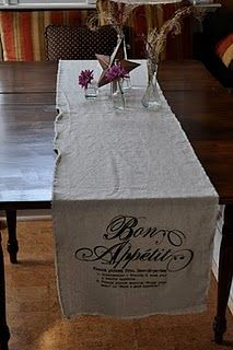 Iron on graphic applied to muslin = table runner!