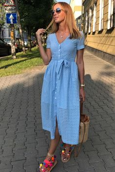 Front Button Waist Knot Lace Dress in 2020 Casual Dresses For Teens, Modest Dresses, Modest Outfits, Simple Dresses, Elegant Dresses, Modest Fashion, Pretty Dresses, Sexy Dresses, Short Dresses