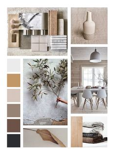 Light muted colors, natural light and natural materials dominate the Nordic mood board. If you are a person who loves natural light and clean lines in their spaces, Nordic is the way out for you. The aim of this mood board is to create an aura of calmness through its soft cozy fabrics, warm toned and smooth finished materials and seamless functionality. Don't forge to add a splash of greenery to your setup. Minimalist Interior, Minimalist Design, Ideas Paneles, Mood Board Interior, Interior Design Presentation, Style Deco, Interior Concept, Interior Inspiration, Moodboard Interior Design