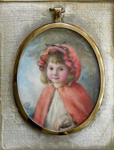 Antique Watercolor on Ivory Portrait miniature little red riding hood girl