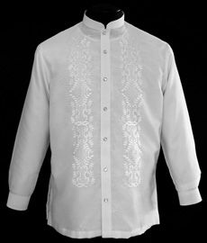 White Barong Tagalog - Barongs R us Barong Tagalog, Filipiniana Dress, Line Shopping, Suits, Formal, Stylish, How To Wear, Crafts, Exercise