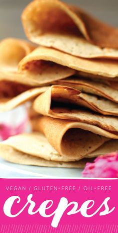Thin delicious vegan crepes made no oil or gluten. Easy to make and a perfect…