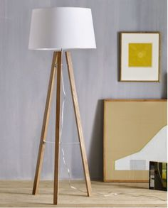 Tripod Wood Floor Lamp from West Elm. Shop more products from West Elm on Wanelo. Diy Floor Lamp, Wooden Floor Lamps, Brass Floor Lamp, Cool Floor Lamps, Wood Floor, Wooden Lamp, Wooden Diy, West Elm, Tree Stump Side Table