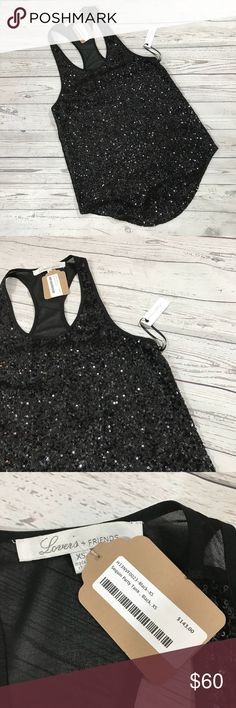 Lovers + Friends Sequin Tank Sequin party Tank top by Lovers + Friends features sequined front with inner lining. Sheer back. NWT. Lovers + Friends Tops Tank Tops