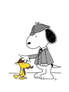 Holmes and Watson. Snoopy and Woodstock, Sherlock Holmes. Snoopy Love, Charlie Brown And Snoopy, Snoopy And Woodstock, Peanuts Cartoon, Peanuts Snoopy, Peanuts Comics, Peanuts Characters, Cartoon Characters, Sherlock Holmes Dibujos