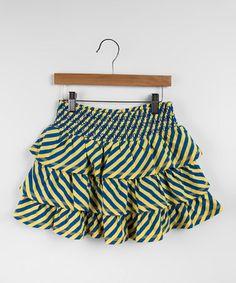 Love this Blue & Yellow Stripe Zoom Skirt - Toddler & Girls on #zulily! #zulilyfinds
