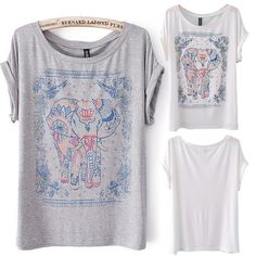 Europe United States New Fashion Summer 2014 Elephant Print Round Collar Short Sleeve Women's T-Shirt Cotton Blouse in Stock 9