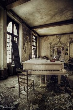 All the light, love, music and merriment that fllled this room as fallen away through the cracks in the flooring
