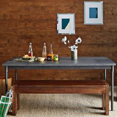 Mix + Match Table - Industrial Steel Base / Patched Metal Top | west elm