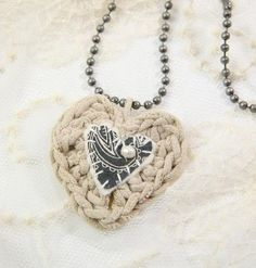 Crocheted Heart Necklace with embellishments~ Tutorial {♥ the use of different materials}