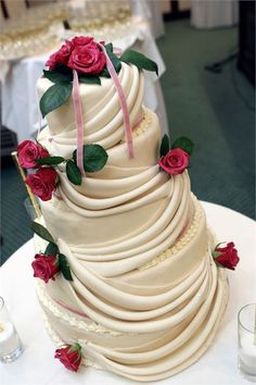 White Sash 5 Tier Wedding Cake from Piped Dreams