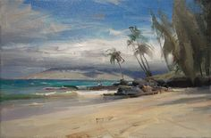 Ruo Li painted this painting of Charley Young Beach during the Plein Air Painters of Hawaii workshop on Maui.