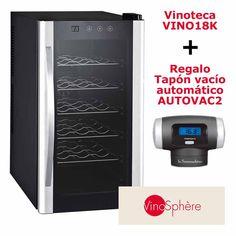 Vinoteca 18 botellas VINO18KFD + Regalo tapón vacío automático con termómetro digital