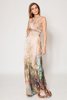 Chiffon Printed Halter Gown