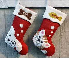 Pet Dog Christmas Stockings Cat Stocking Whimsical Monogrammed Personalized Holiday Modern Puppy Kitten Cute Dog Bone Fish Applique by eugenie2 on Etsy https://www.etsy.com/listing/254636839/pet-dog-christmas-stockings-cat-stocking