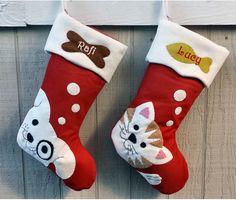 pet dog christmas stockings cat stocking whimsical monogrammed holiday modern puppy kitten cute dog bone - Custom Christmas Stockings