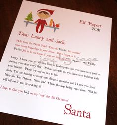 Elf on the Shelf letter....  ♥
