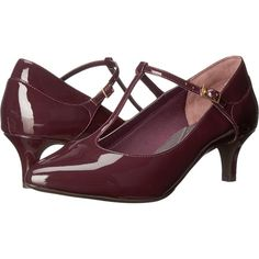 Rockport Total Motion Kalila T-Strap (Dark Vino Patent) Women's Shoes (5.830 RUB) ❤ liked on Polyvore featuring shoes, mahogany, patent leather shoes, leather upper shoes, t-bar shoes, rockport shoes and kitten heel shoes
