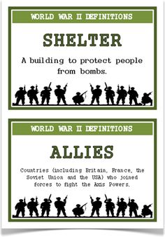World War Two Definitions - Treetop Displays - A super set of 45 A5 posters that give key words and definitions for topic of World War II. Each poster has a key word heading, making it great for discussion, activities and displays for this historical topic. Visit our website for more information and for other printable classroom resources by clicking on the provided links. Designed by teachers for Early Years (EYFS), Key Stage 1 (KS1) and Key Stage 2 (KS2).