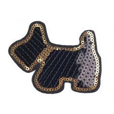 Aufbügler mit Pailletten Hund – schwarz Sequins, Fabrics, Products, Doggies, Black