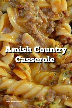 Amish Country Casserole is an economical, creamy dinner, perfect for a crowd – make-ahead and freezer friendly too ! Amish Country Casserole is an economical, creamy dinner, perfect for a crowd – make-ahead and freezer friendly too ! Easy Hamburger Casserole, Beef Casserole Recipes, Casserole Dishes, Sausage Recipes, Hotdish Recipes, Cheeseburger Casserole, Ground Beef Casserole, Chicken Casserole, Ground Beef Recipes For Dinner