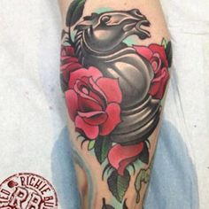 Knight & rose tatoo