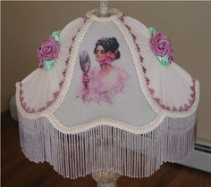 Victorian Shade 20 Harrison Fisher Lady With Mirror Hand Made Original Design By KERRI-Victorian, Shade, handsewn, beads, glass, sugared, Vintage, Antique,Old, Pearls, Roses, Pink,