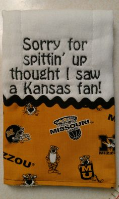 Mizzou Burp Cloth. $9.00, via Etsy.