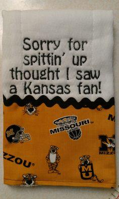 Mizzou Burp Cloth. $9.00, via Etsy.