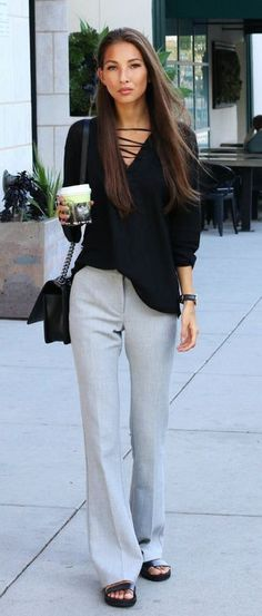 Wide Leg Trouser Trend: Felicia Akerstrom is wearing a pair of pale grey Topshop trousers... | Style Inspiration