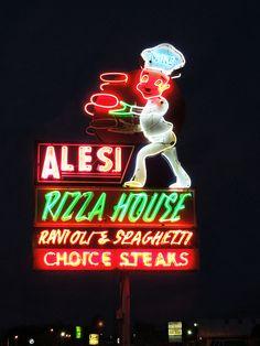 Alesi Pizza House ~ Retro Neon Sign. Lafayette, LA