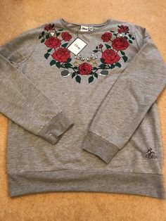 New Disney Primark Beauty And The Beast Grey Jumper Size 14/16 Large Rose  | eBay