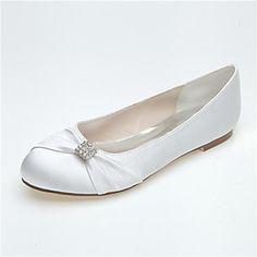 Women's Shoes Closed Toe Flat Heel Satin Flats With Bowknot Rhinestone Shoes