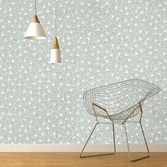 Papier peint RAPHAEL 100% intissé motif graphique mat, vert d'eau - Peinture et Papier Peint -