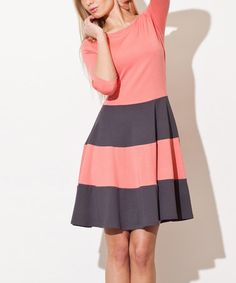 Another great find on #zulily! Coral & Gray Stripe A-Line Dress by FIGL #zulilyfinds