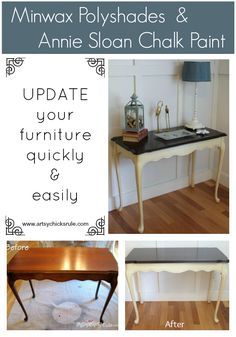 Antique Sofa Table Redo with Polyshades and Chalk Paint - updated quickly and easily with these 2 products