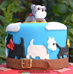 Dog themed birthday cake - schnauzer topper