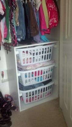 I never thought about using it for storage in the closet...genius!   Laundry Basket Dresser | Do It Yourself Home Projects from Ana White
