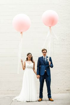 Adorable balloon wedding portrait from Aleksandra and Dave's Toronto wedding | Image by A Brit & A Blonde