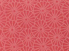 Japanese Cotton Kimono Fabric - Red Kiku Stencil Pattern by raaen99, via Flickr.      Detail of a beautiful bolt of vintage Japanese cotton fabric used to make everyday kimonos. The pattern features traditionally stylised chrysanthemums, woven in white against a red background.    Private collection.